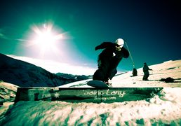 Snowpark of Saint-Lary, ski resort of Pyrenees