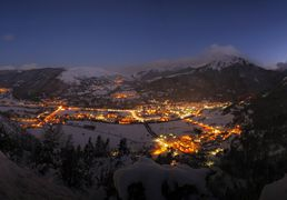 Saint-Lary, star of Pyrenees, at night