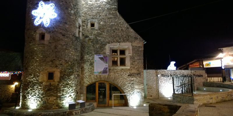 The Maison du Parc National at night, Saint-Lary