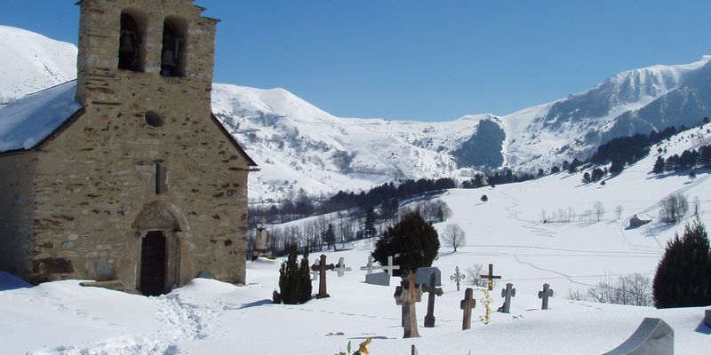 Saint Lary's cemetery in Pyrenees