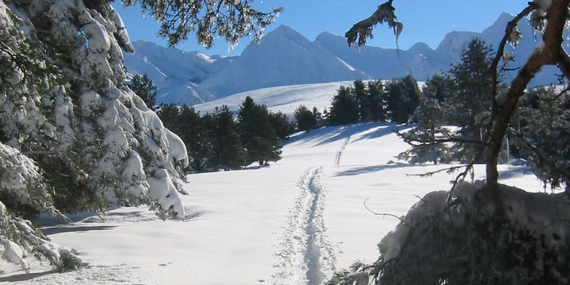 The Pyrenean valley under the snow at Saint Lary