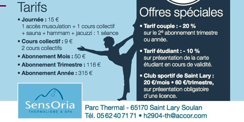 Price list and special offers Sensoria Fitness to Saint-Lary, Pyrenees