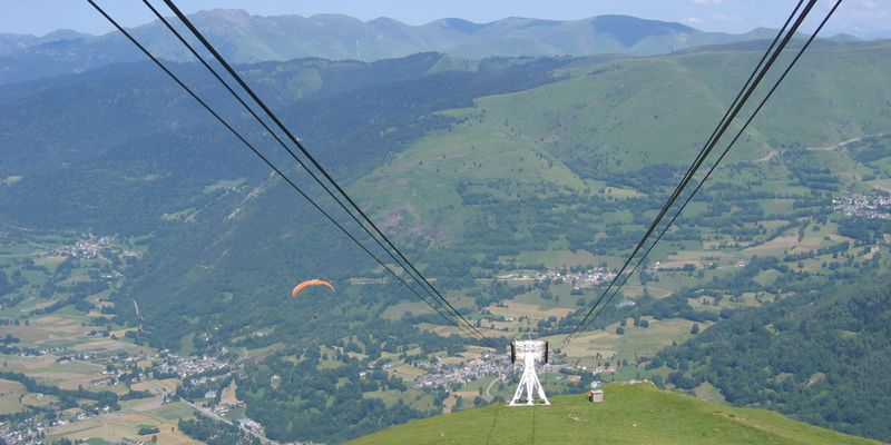 The cable railway of Saint-Lary in summer, in Pyrenees
