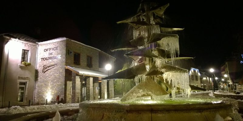 Tourist office of Saint-Lary by night, Pyrenees