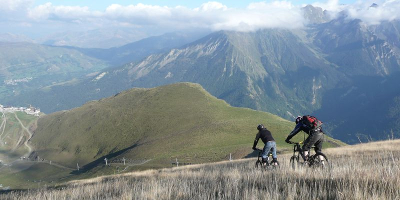 The brilliant landscapes in Mountain Bike to Saint-Lary in Pyrenees