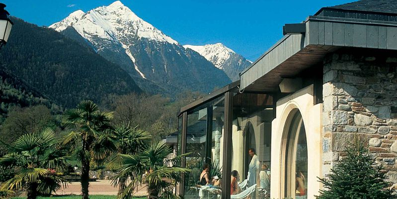 The landscaped garden of thermal baths to Saint-Lary in Pyrenees