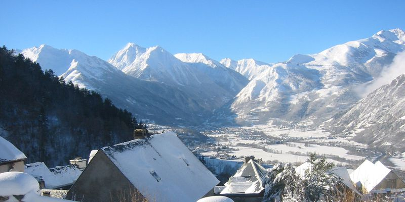The valley of Aure in winter, next to Saint-Lary in Pyrenees
