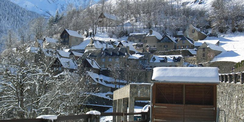 The village of Soulan in Pyrenees in winter